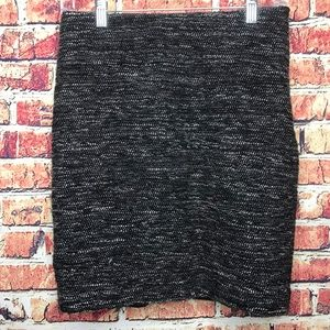 Ann Taylor Black & White Charcoal Gray Tweed Skirt